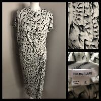 HELMUT LANG White & Black Abstract Layered Jersey Dress Size Small UK 12 Vgc