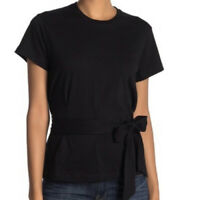 NWT Vince Womens Short Sleeve T Shirt Wrap Black Size L