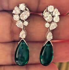 4Ct Pear Drop Simulant Emerald Diamond Chandelier Earrings White Gold Fns Silver