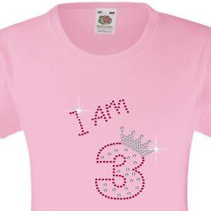 "Girl's Birthday T-Shirt ""I am 3"" Rhinestone Embellished Beautiful Surprise Gift"