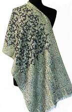 Wool, Jamavar Blue & Green Scarf or Shawl. A Splendid Gift. Reversible.