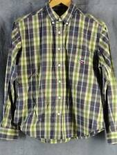 Cruel Girl M Gray Green Plaid Western Shirt Long Sleeve