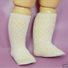 Chaussette beige ajourée pour poupée ancienne et moderne 30/35cm de haut