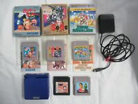 L917 Nintendo Gameboy Advance SP console Azurite Blue & game Adapter Japan GBA