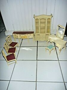 '78 Marx Sindy Doll Furniture Lot - Breakfront, Buffet, Chairs & Dressing Table+