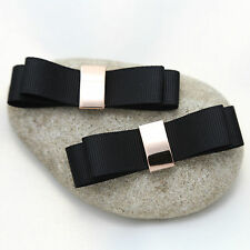 Elegant Black Ribbon Bow Gold Tone High Heel Shoe Clips Decoration