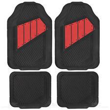 Deep Channeled Heavy Duty Rubber Car Floor Mats Front & Rear All Season - Red