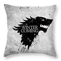 "Game of Thrones Winter Coming Stark 17"" Square Cushion Cover Pillow Case Grey"