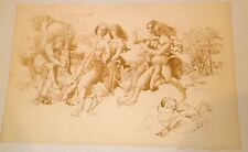Renaissance Dance with Couples & Musician Drawing-12 x18-1965-August Mosca