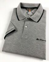 Ben Sherman Polo Shirt Men's Regular Fit Grey Marl Two Button Placket 0060636G