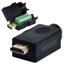 HDMI 19P Plug to Terminal Block Breakout Male DIY Connector Plug W/ Black Cover