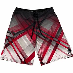 "O'Neill Board Shorts Men 36 x 10.5"" Red Plaid Cargo Swim Logo Polyester White"