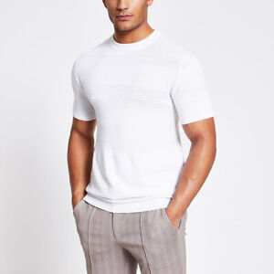 River Island Mens Maison Riviera White Slim Fit Knit T-Shirt