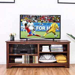 TV Stand Entertainment Media Center Console Wood Storage Furniture w/ Shelf Home