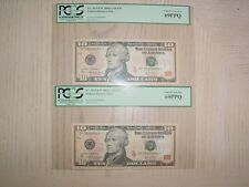(2) 2004-A $10 Federal Reserve Star Note Atlanta Pcgs69 Ppq fancy repeater/radar