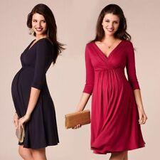 Breastfeeding Dresses Maternity For Pregnant Women Clothing Solid V-neck Dresses
