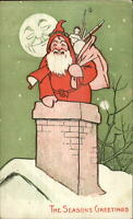 Christmas Santa Claus in Chimney - Man in the Moon c1910 Postcard