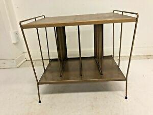 Vintage RECORD RACK mid century modern metal stand lp 33 storage vinyl table 60s