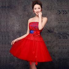 Strapless Evening Prom Chinese Dress Wedding Bridesmaids Dress Short Skirt Q349R