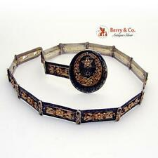 Magnificent Niello Russian Belt Gilt 84 Standard Silver 1890