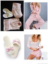 Victoria Secret Pink Stripe Dreamer Flannel Pajama Pant Shorts S Slippers M LOT