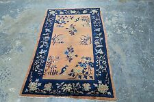 Antique Old Art Deco Chinese Rug Birds Mat Hand Knotted Wool 3'-0 x 4'-9  Pekin