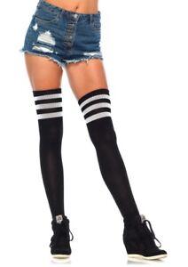 School Girl, 3 Stripes Athletic Ribbed Thigh High Stockings. Leg  Avenue 6605