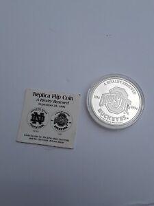 RARE 1996 OHIO STATE & NOTRE DAME 2 OUNCE SOLID SILVER REPLICA FLIP COIN