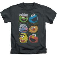 SESAME STREET GROUP SQUARES ELMO Toddler Kids Graphic Tee Shirt 2T 3T 4T 4 5-6 7