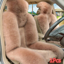 1pc Genuine Australian Sheepskin Fur Car Front Seat Cover Cushion Red Bean Paste
