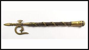 Vintage Indian Elephant Goad Ankus spear axe brass snake n tulwar sword LOOK
