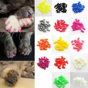 20pcs/Set Pet Dog Cat Nail Caps Soft Gel Pet Paws Claw Covers + Adhesive Glue#Q
