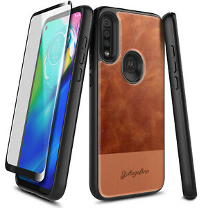For Motorola Moto G Power Case Shockproof Leather Phone Cover + Tempered Glass