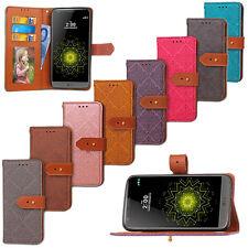 Lujo Cuero Magnético Abatible Tarjeta Billetera Estuche Cubierta Para Huawei LG