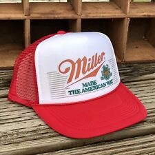e2e8322e Miller Made The American Way Vintage 80's Beer Trucker Hat Mesh Snapback Red  Cap