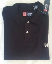 Chaps Mens Black Pique Rugby Polo Collared 100% cotton Shirts size- L NWT