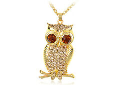 Topaz Wide Eye Golden  Tree Owl Bird Crystal Rhiness Pendant Necklace 121