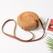 Summer Women Rattan Woven Circle Satchel Bags Straw Shoulder Beach Mini Bag W