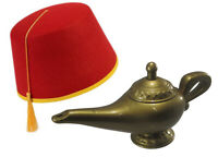 Red Fez Gold Tassel Hat And Genie Magic Wish Lamp Costume Cap Party Set Kit