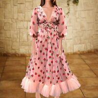 Elegant Women Puff Sleeve Strawberry Sequins Midi Dress Mesh V-neck Party Dress