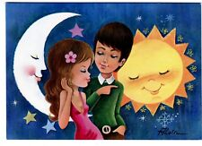 POSTAL ILUSTRADA . Dibujo de ALAIN. SoL,Luna Estrellas