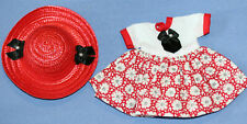 *Vintage Professionally Handmade Doll Dress & Matching Straw Hat-Excellent