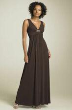 BCBG MAXAZRIA Maxi Dress L Chocolate Brown V neck Formal Solid Fancy  #1033