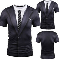 BL_ Fake Suit Tie Tuxedo Funny 3D Print T-Shirt Men's Short Sleeve Tee Tops Sigh