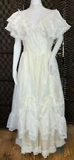 Vintage 80's Gunne Sax White Ivory Prairie Bridal Wedding Dress Gown Size M S?
