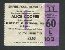 Alice Cooper 1975 Concert Ticket Stub Wembley London Welcome To My Nightmare