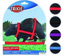 6262 Trixie Nylon Harness With Lead for Ferrets & Rats 4 Colours 12-25cm X 8mm