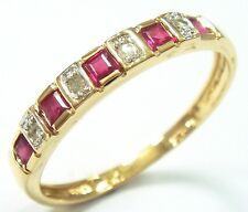 FINE 9CT YELLOW GOLD NATURAL RUBY & DIAMOND BAND RING     syjewellery    R1081