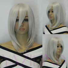 Medium Long Shoulder Length Silver Grey Straight Cosplay Full Hair Wig