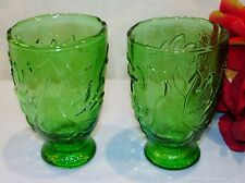 Forest Green Juice Glasses with Pear, Grapes, Apple and Leaves Design, Set of 2